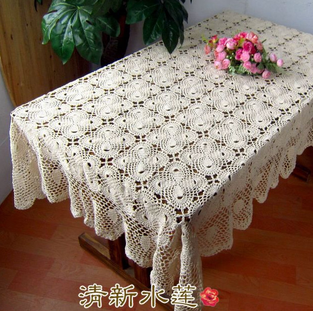 Fresh water handmade hook needle crochet table cloth tablecloth rustic vintage 100% cotton knitted gremial decoration meters(China (Mainland))