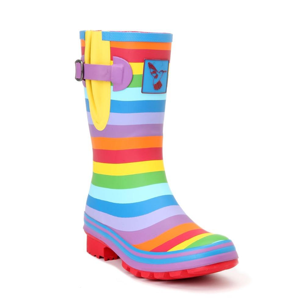 Evercreatures UK Brand boots Rainbow Wellies - Short high quality Rainbow rubber rain boots Wellies for women(China (Mainland))