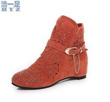 Small yards shoes elevator cutout boots plus size boots 40 41 42 43 small yards boots 30 31 32 33(China (Mainland))