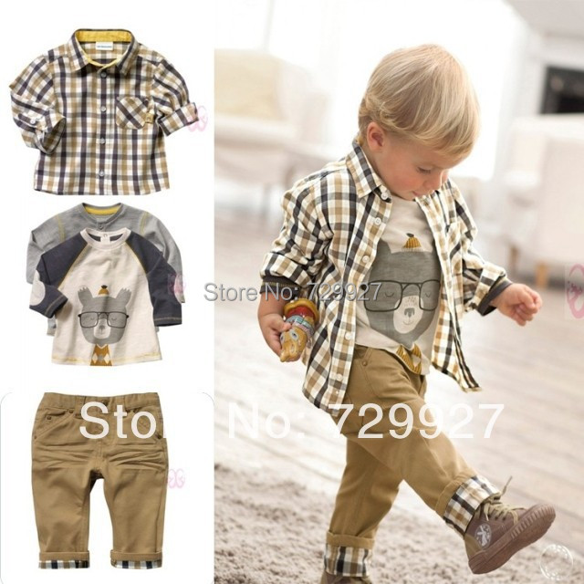 baby boy set 3 pcs suits t-shirt+plaid overshirt+pants Autumn Spring children wearing clothes casual set kids suit