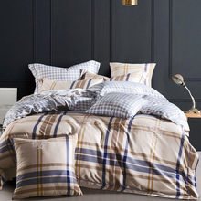 2018 Europe style Egyptian Cotton Duvet Cover Pillowcase Pink/Blue / Green plaid Comforter Bedding set(China)