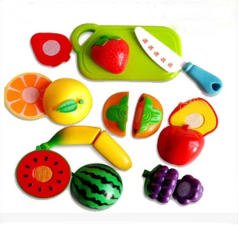 Funny gadgets Plastic Cutting fruits Kitchen Food Pretend Play House Artificial Baby Children Kids Classic Toy Birthday Party(China (Mainland))