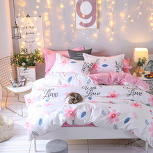 Christmas gifts Bedding Set luxury 3/4pcs Family Set (Duvet Cover + Bed Flat Sheet + Pillow Case) Twin Full Queen King Size(China)