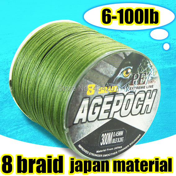New Brand 300m Amy Green Multifilament 8 Strand Braid