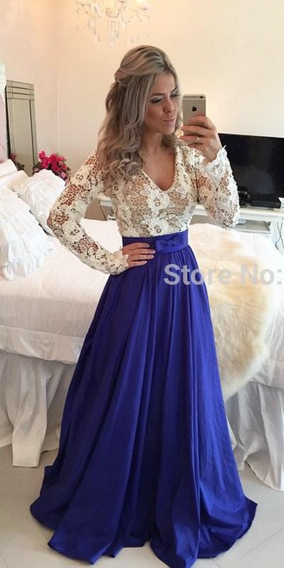 Элегантный длинный рукав вечерние платья сексуальный с v-образным вырезом официальный платье королевский синий кружево женщины платье атлас vestidos пункт феста