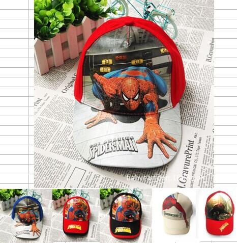 Retail Baby boys girls Cartoon Spiderman Avengers Teenage mutant ninja turtles cap Summer beret hat children's Spider man hat(China (Mainland))