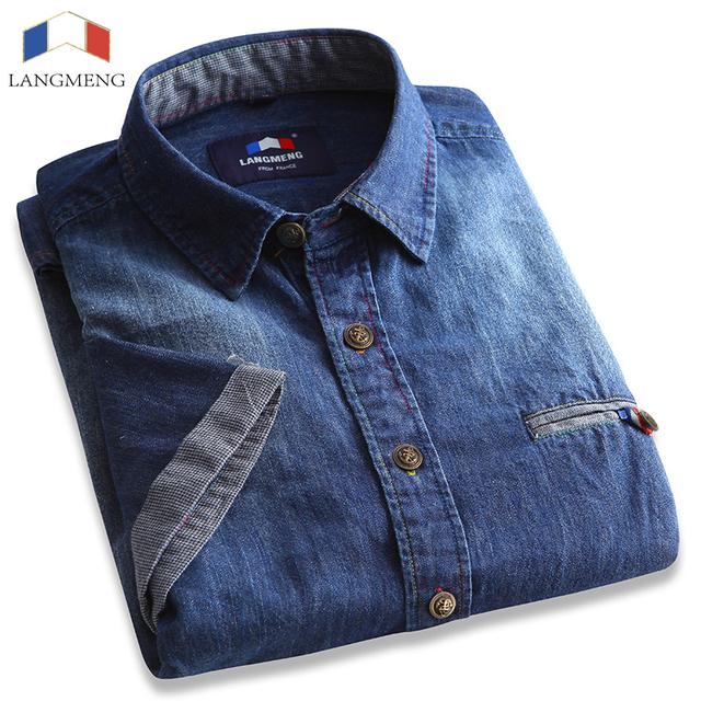 Langmeng 2016 мужчин тонкой сплошной цвет джинсовые рубашки с коротким рукавом хлопок ...