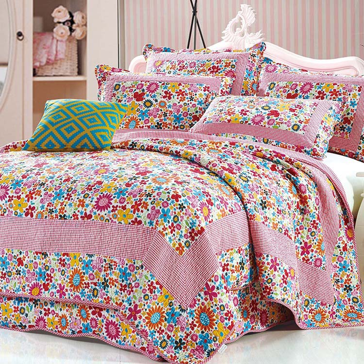 BEST PRICE 2015 new arrival Pastoral fabric cotton quilting cotton bed cover spring and summer quilt thin quilts(China (Mainland))