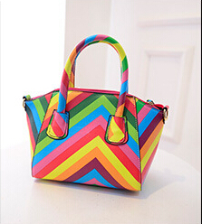Article 2015 the new European and American fashion bump color rainbow smile bag shoulder portable oblique cross tide female bag(China (Mainland))