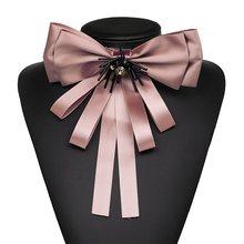 2019 Oorbellen Baru 4 Warna Fachion Pakaian Aksesoris Perhiasan Pita Busur-Simpul Bros Pin untuk Wanita Laporan Bros(China)