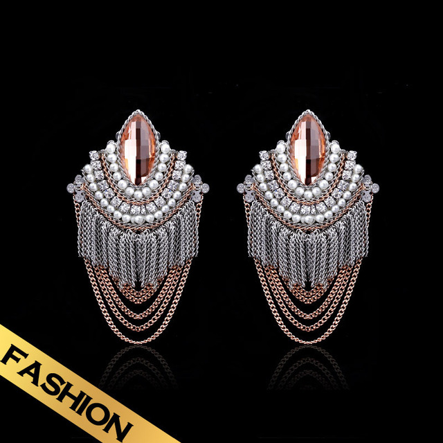 Special Wholesale Champagne Bohemian Tassel Earrings Free Shipping Sri Lanka Zircon Earrings EH13A101403