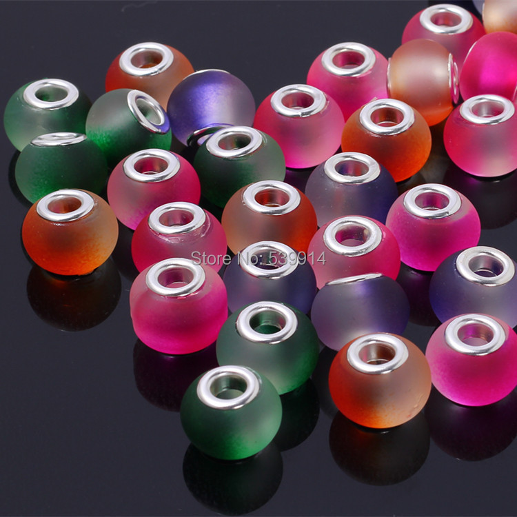 11*15MM Mixed Colorful Glass Silver Plated Cord Big Hole Loose Beads 50pcs/lot fit Murano European Glass Beads(China (Mainland))