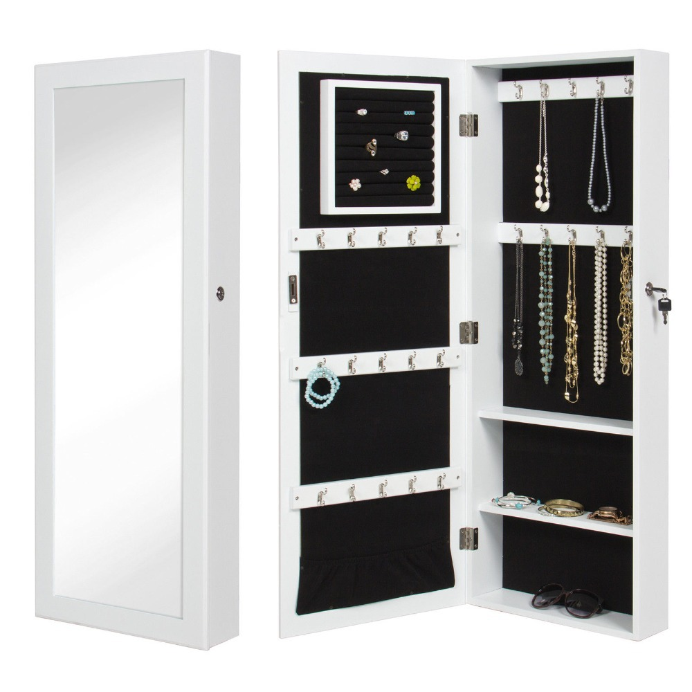 Storage Wall Mount Jewelry CaseWhite Mirrored Jewelry Cabinet Armoire Organizer GHFG44(China (Mainland))