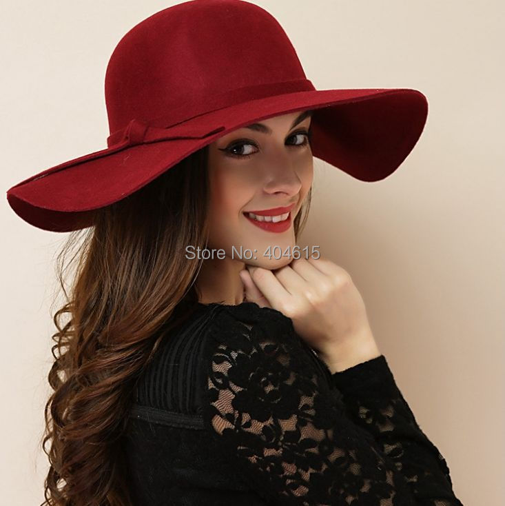 Wholesale lady winter party church headwear women spring beach fashion faux wool felt wide brim bucket hatsОдежда и ак�е��уары<br><br><br>Aliexpress