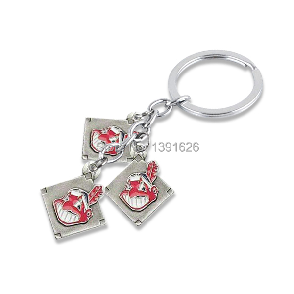 Top Selling 30 Pcs a lot antique silver plated Metal Enamel Single-sided Cleveland Indians Baseball Key Chains Keyring (K100757)(China (Mainland))
