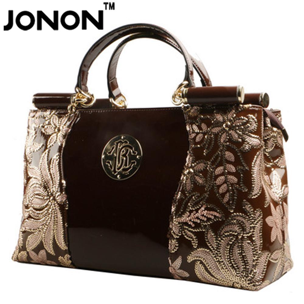 Фотография JONON Fashion Designer Brand Genuine Leather Bags women Handbags With Embroidered Flower Patent Smooth Leather Totes WHB009