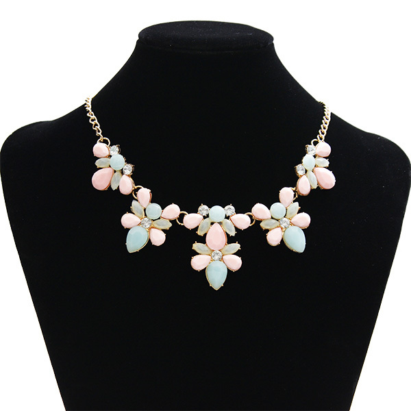 Fashion Collar Women Charm Rhinestone Resin Flower Choker Necklaces For Women 2015 Summer Style Statement Jewelry(China (Mainland))