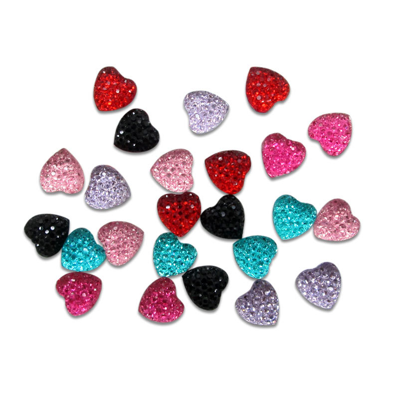 ! 30Colorful Resin Craft Bling Heart Cabochons Flatback Scrapbooking 10x10mm DIY accessories - Panbeads-supplies Jewelry Co., Ltd. store