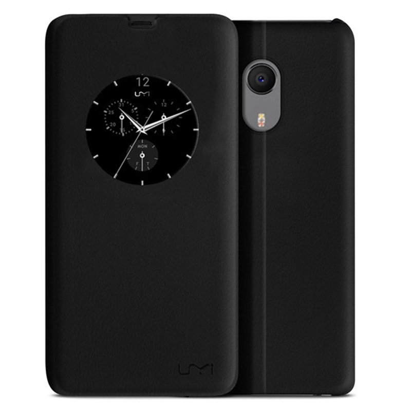 5.5 Inch Ultra Slim Classical Black Mobile Phone Housing Smart View Window Flip Cover PU Leather Stand Bag Case For UMI Plus(China (Mainland))