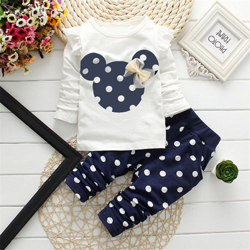Monkids Girls Clothing Sets Kids Clothes Girl Baby Long Rabbit Sleeve Cotton Minnie Suits Children Suits Baby Clothing