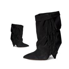 JAWAKYE Schwarz Grau Quaste Stiefeletten für Frauen Spike High Heel Stiefel Wildleder Herbst Winter Fransen Botas Mujer Keil Schuhe frau(China)