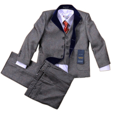 (2-13Y) children suit male formal good quality child suits flower boys sets formal dress costume male boy party suits 5 pcs set(China (Mainland))
