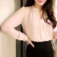 2016 frühling Frauen Chiffon Hemd Bluse Damen Weiß Rosa Elegante Reizvolle V-ausschnitt Langarmshirts Weiblich Büro Hemd Plus Größe(China (Mainland))