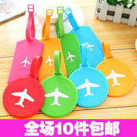 fashion silicone Luggage Travel Accessories outdoor luggage tags cartoon plane korean candy color