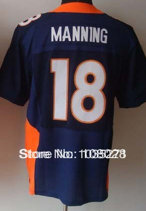 Denver #18 Peyton Manning Elite Jersey American Football Jersey Embroidered Stitched Logo Authentic Sports Jerseys(China (Mainland))