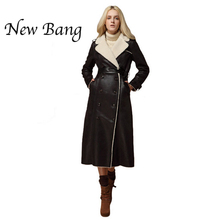 2016 Fashion Extra Long Leather Jacket Double Breasted Shearling Coat Women Suede Trench Coat Fur Turn Down Collar Two Colors(China (Mainland))