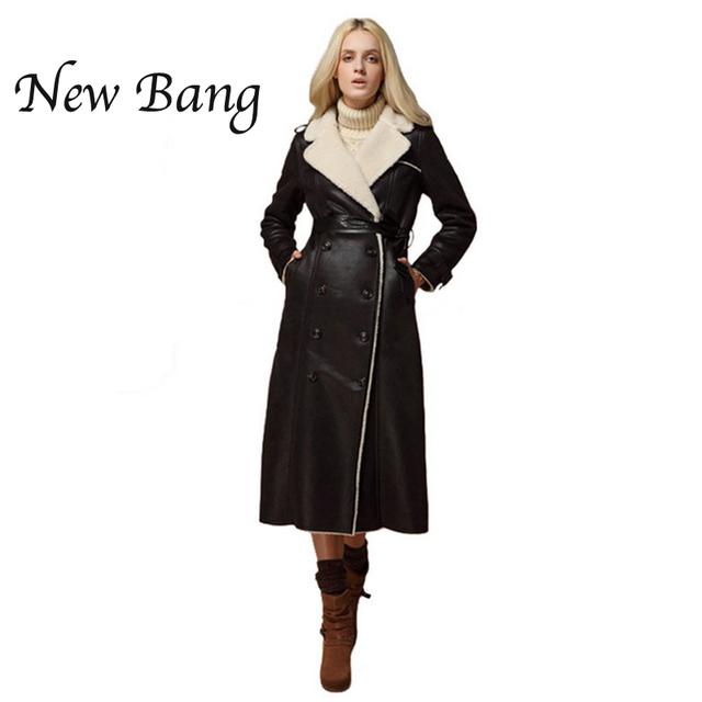 2016 Мода Удлиненная Кожаная Куртка Двойной Грудью Пальто, Дубленки Женщин Замши ...