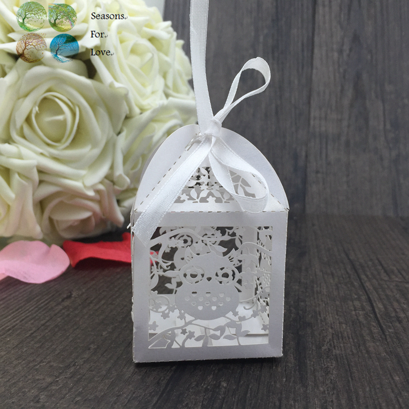 50pcs Laser Cut Lovely Owl Vine Animal Wedding Favor Box Party Show Decor Wedding Favors And