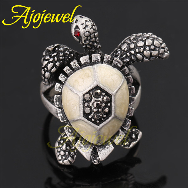 2014 Fashion Animal Jewelry Vintage Retro White Gold Plated Black & Red Rhinestones Turtle Rings For Women and Men(China (Mainland))