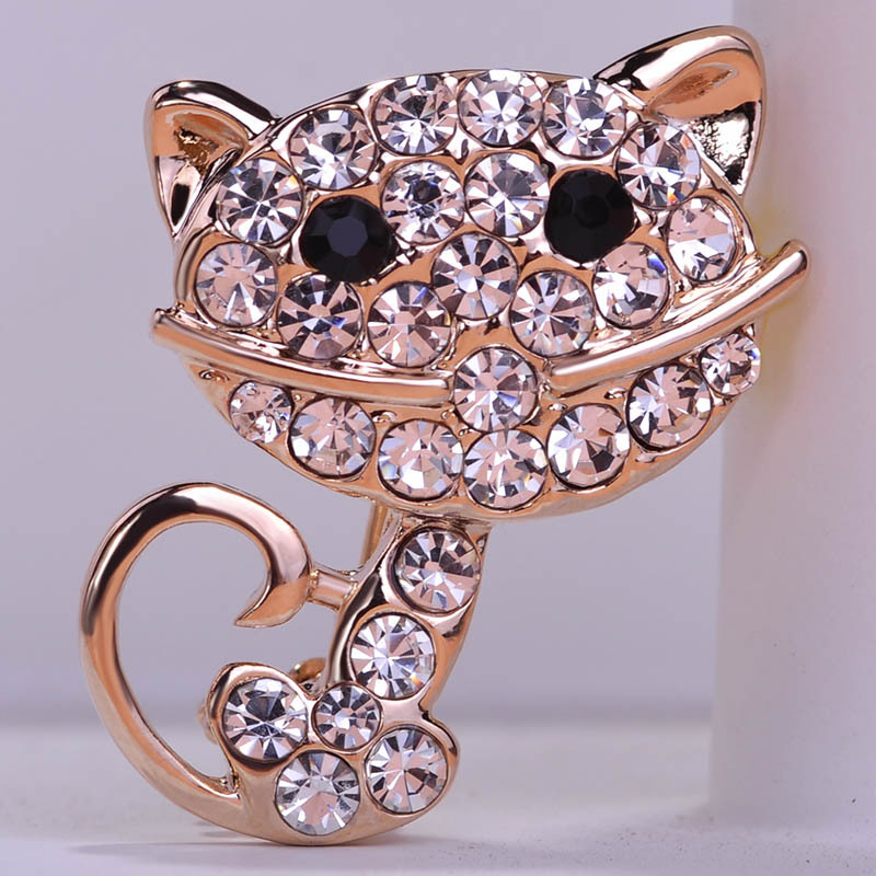 Korea New Arrival Rhinestone Cat Broches Hijab Pins Pin up Bijoux Weddings Brooch Bouquet Collar Accessoris Perfumes For Women(China (Mainland))