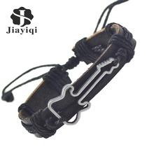 4pcs Mixed Guitar Bracelet Charm Genuine Leather Bracelets Men Bracelets for Women Gifts