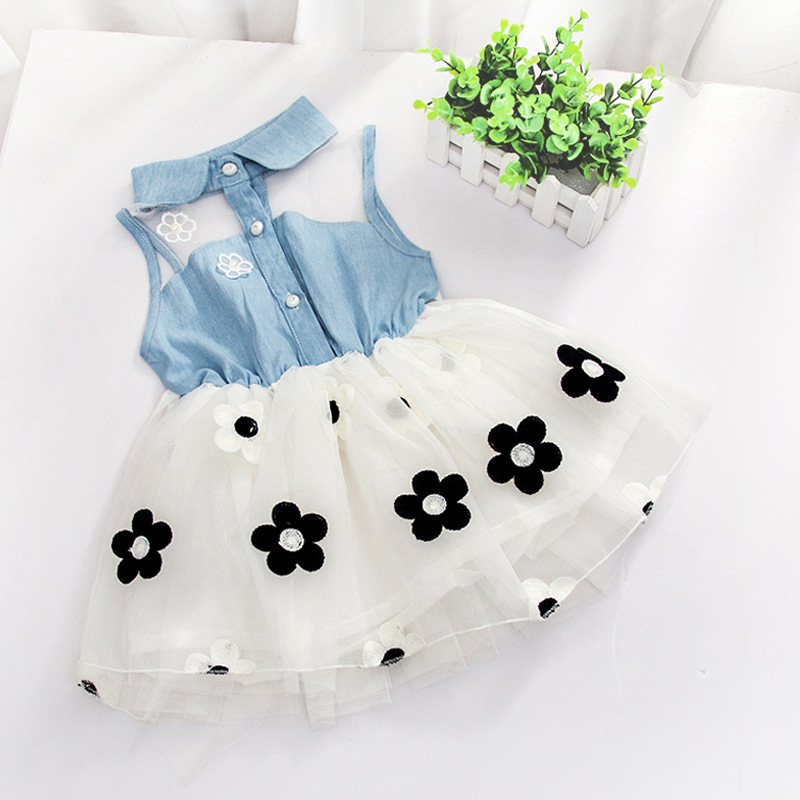 Hot!New summer baby girls dresses,fashion flower printed denim cotton lace collect waist sleeveless kids clothes one-piece  02(China (Mainland))