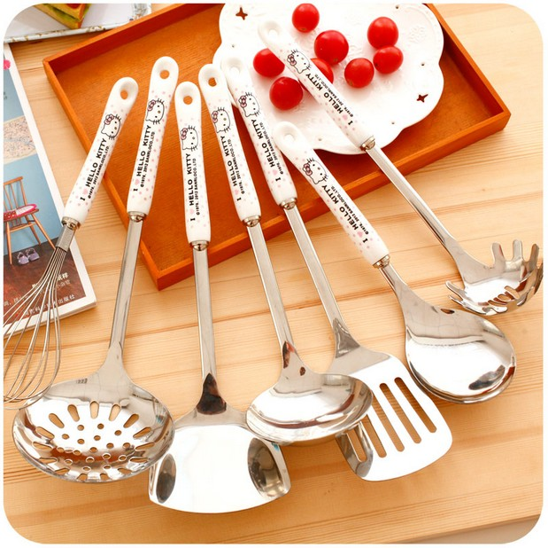 1Pcs.Cute Hello Kitty Egg Beater/Colander/Spatula/Fried Shovel.Kitchen Tools.Cartoon Stainless Steel Kitchenware.Cooking Utensil(China (Mainland))