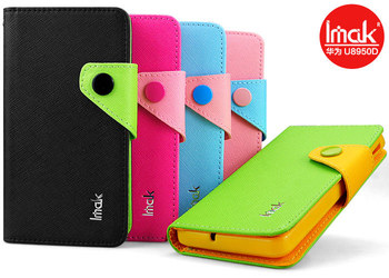 Free shipping Imak cross contrast color card wallet side flip leather case for Huawei Honor+ Ascend G600 U8950d Honor2 U9508