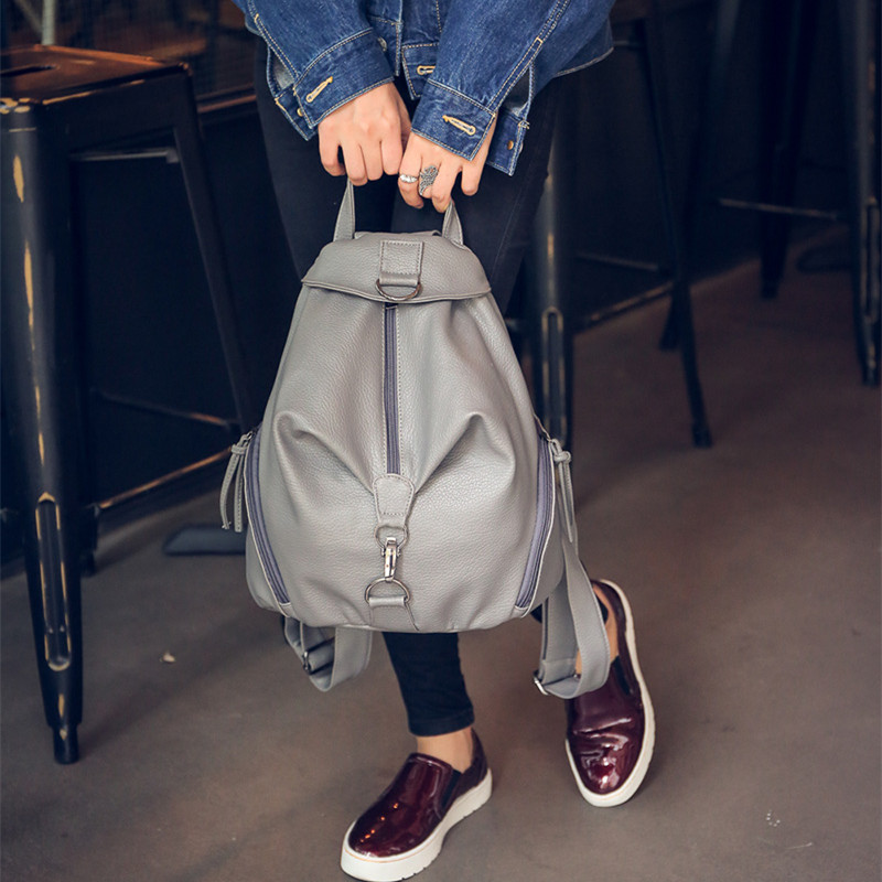 The European and American style fashion backpack Wash PU soft street Recreation bag Pure color contracted joker vintage bag<br><br>Aliexpress
