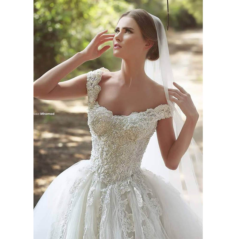 New Said Mhamad Wedding Dress 2015 Beaded Lace Appliques Off Shoulder Ivory Tulle Princess Wedding Dresses Bridal Gowns(China (Mainland))