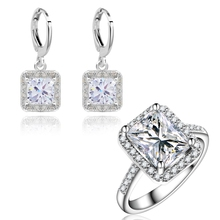 Yunkingdom Wedding Jewelry Sets for women Square Design Earrings zircons Engagement Rings White Gold Plated earring LPG13(China (Mainland))