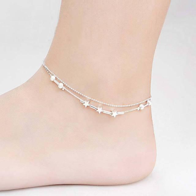 Мода женщины пентаграмма бусины серебряный двойной цепи лодыжке браслет