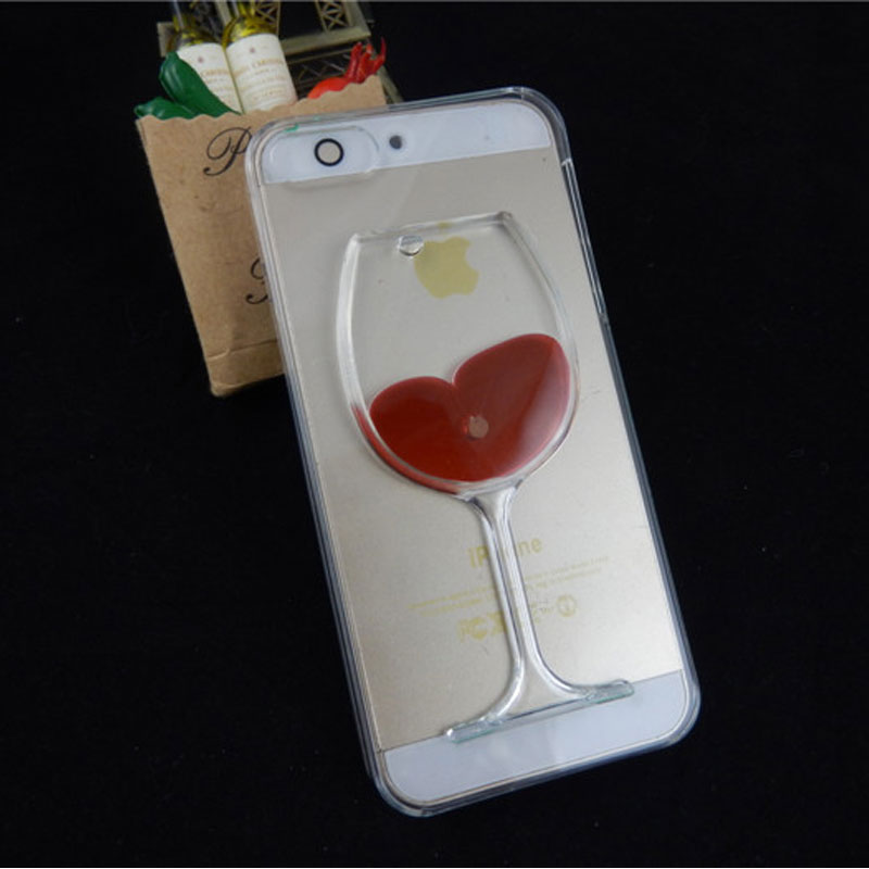 Fashion Universal Red Wine Cup Liquid Transparent 3D Case Cover For Apple iPhone 4 4S 5 5C 5S 5Se Mobile Phone Cases Back Covers(China (Mainland))