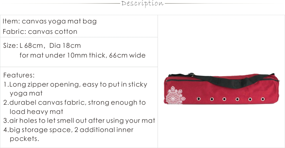 durable canvas cotton yoga mat bag with large zipper opening easy loading mat free shipping