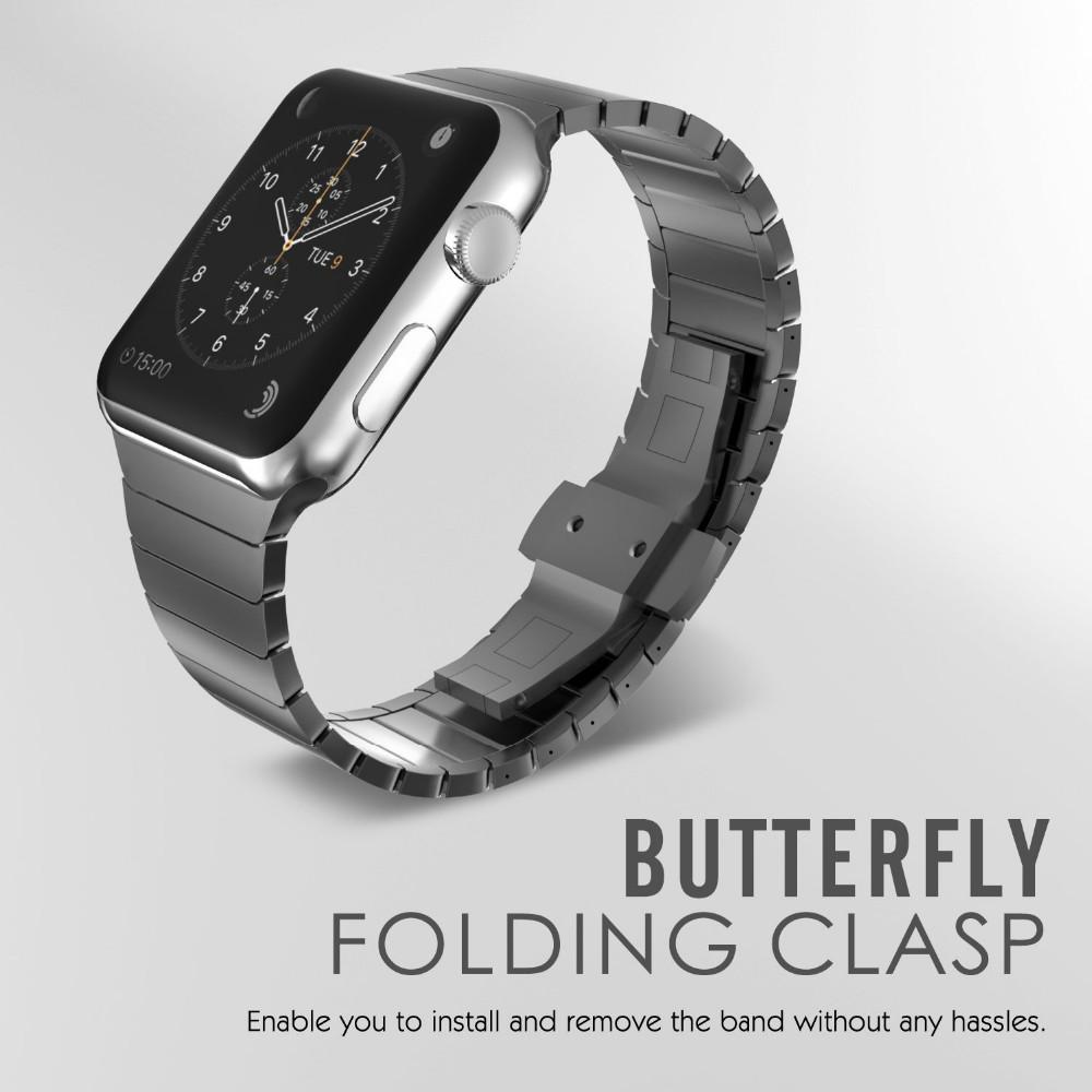 Премиум Нержавеющей Стали Ремешок Для Часов Бабочка Застежка Ремешок Для Apple Watch iwatch группы С Разъем Адаптера 38 мм 42 мм