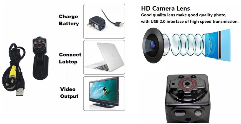 SQ8 Mini 1080P Full HD dashcam zonder scherm met Infrarood