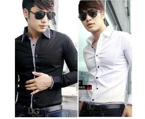 VIP boutique UYUK black white Stripe decoration fashion collar Men Casual Slim Fit Stylish Dress Shirts OFF, ST1231 - Online Store 808308 store