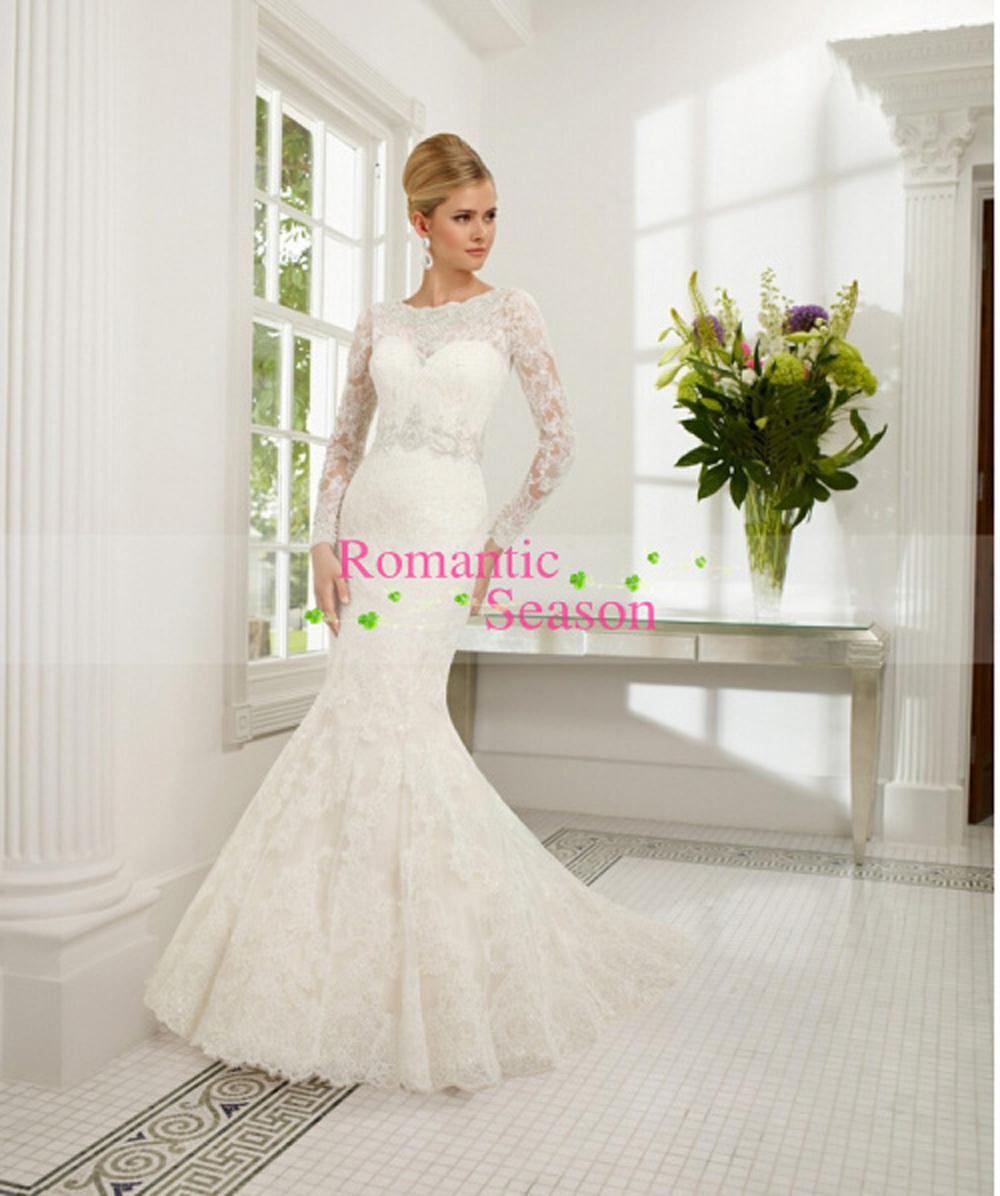Temporada romântico personalizado sexy lace O pescoço lace mermaid vestido de noiva 2016 New Arrival apliques vestido de noiva com jaqueta
