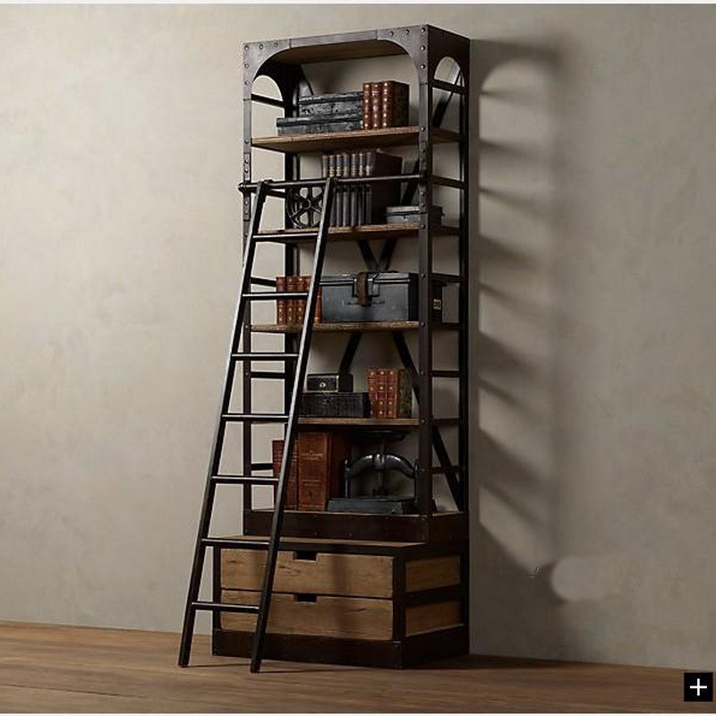 american loft style wrought iron shelves with ladder. Black Bedroom Furniture Sets. Home Design Ideas