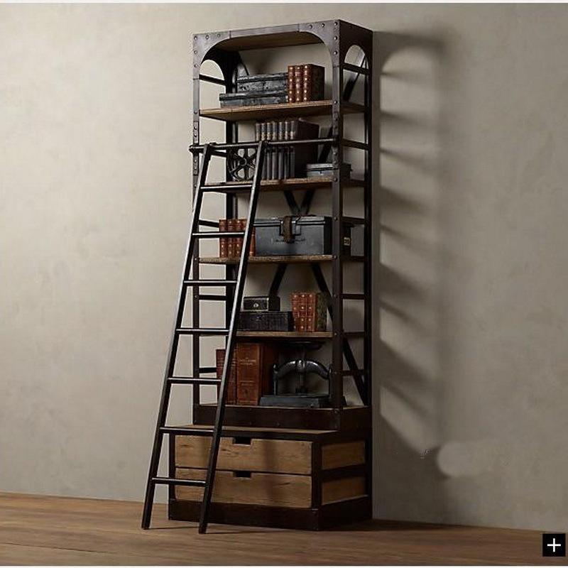American loft style wrought iron shelves with ladder - Estanterias de hierro ...